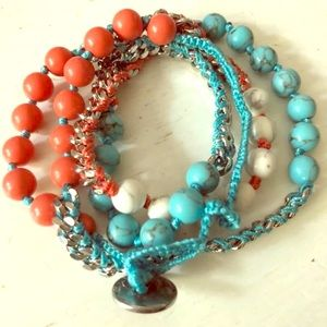 Wrap Bracelet - coral & turquoise